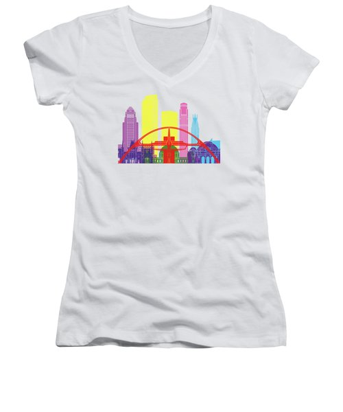 Los Angeles Skyline Pop Women's V-Neck T-Shirt (Junior Cut) by Pablo Romero