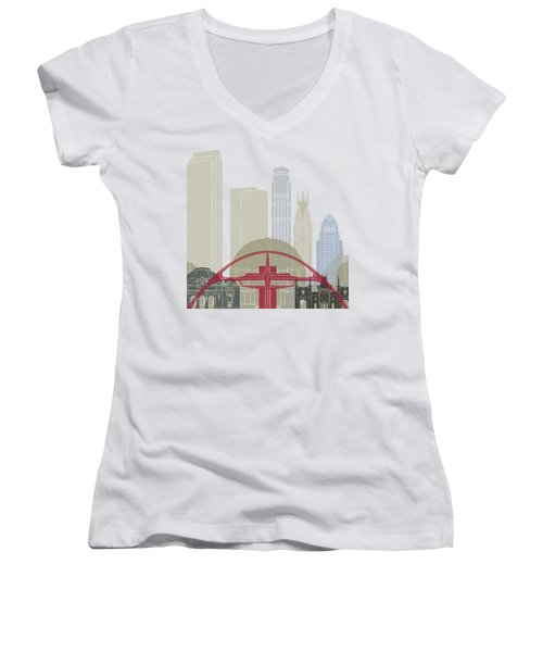 Los Angeles Skyline Poster Women's V-Neck T-Shirt (Junior Cut) by Pablo Romero