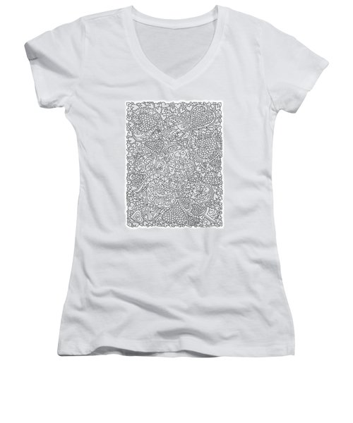 Love And Chrysanthemum Filled Hearts Vertical Women's V-Neck T-Shirt (Junior Cut) by Tamara Kulish