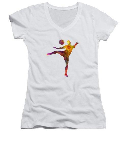 Man Soccer Football Player 07 Women's V-Neck T-Shirt (Junior Cut) by Pablo Romero