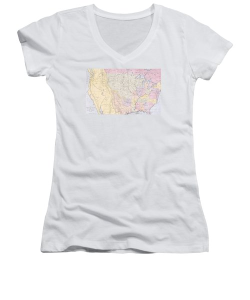 Map Showing The Localities Of The Indian Tribes Of The Us In 1833 Women's V-Neck T-Shirt (Junior Cut) by Thomas L McKenney and James Hall