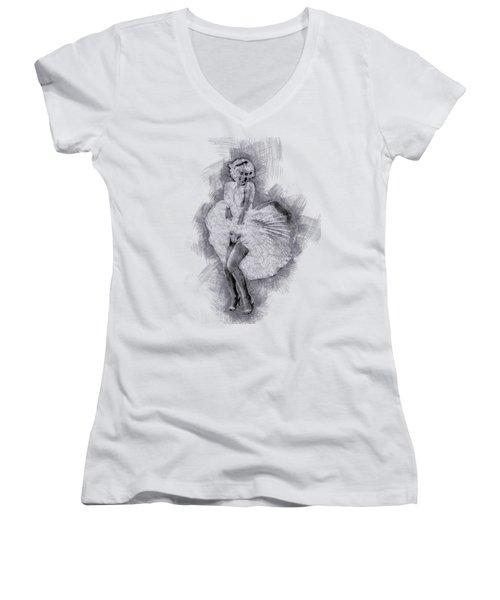 Marilyn Monroe Portrait 03 Women's V-Neck T-Shirt (Junior Cut) by Pablo Romero
