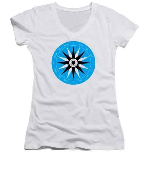Mariner's Compass Women's V-Neck T-Shirt (Junior Cut) by Frank Tschakert