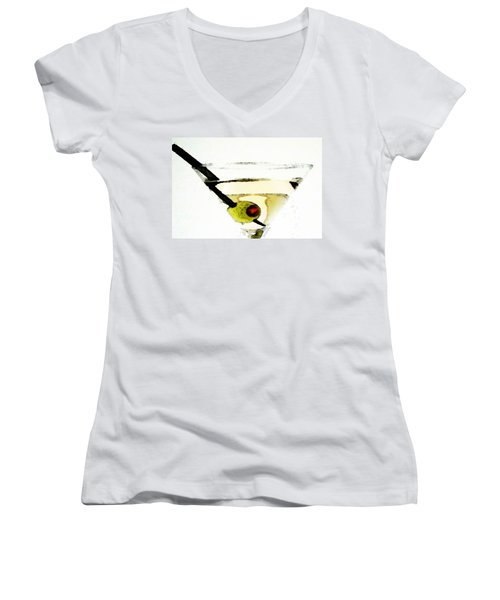 Martini With Green Olive Women's V-Neck T-Shirt (Junior Cut) by Sharon Cummings
