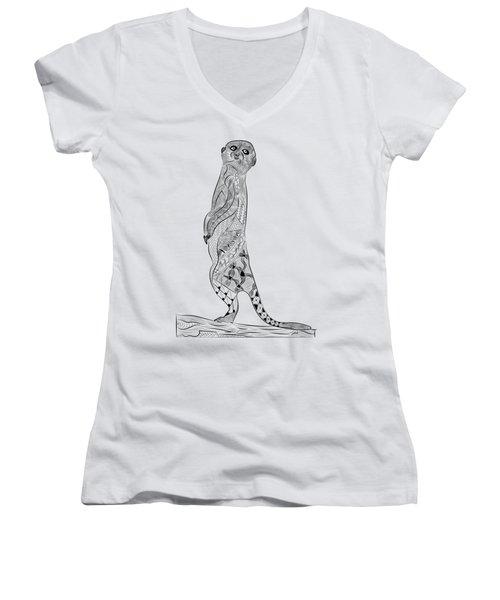 Meerkat Women's V-Neck T-Shirt (Junior Cut) by Serkes Panda
