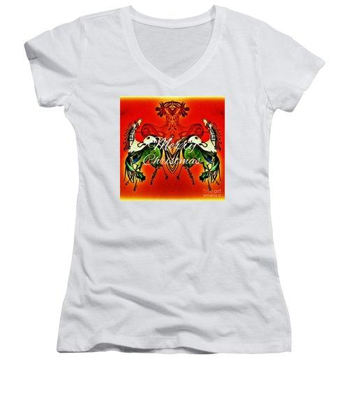 Merry Christmas Dancing Musical Horses Women's V-Neck T-Shirt (Junior Cut) by Scott D Van Osdol