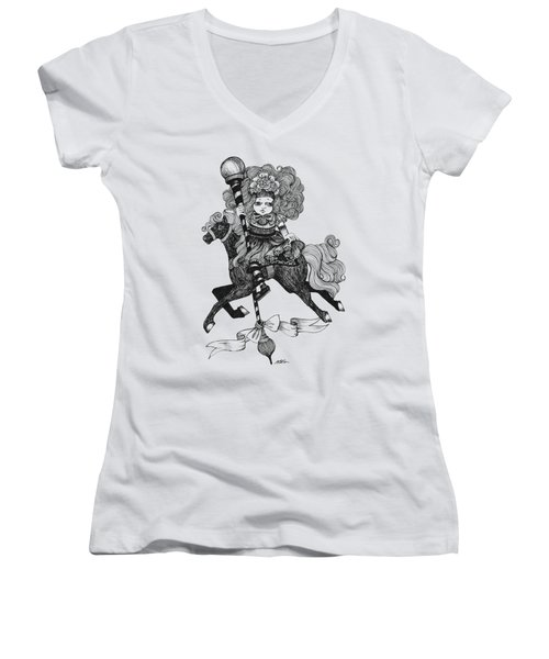 Merry-go-round Girl Women's V-Neck T-Shirt (Junior Cut) by Akiko Okabe