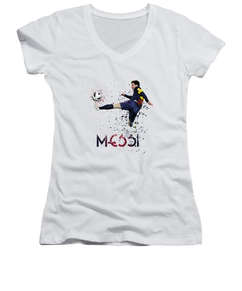 Messi Women's V-Neck T-Shirt (Junior Cut) by Armaan Sandhu