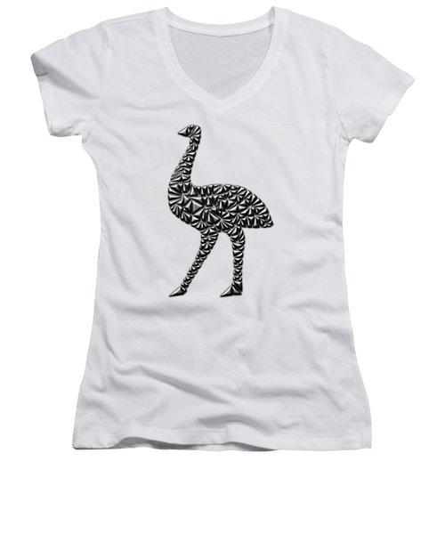 Metallic Emu Women's V-Neck T-Shirt (Junior Cut) by Chris Butler