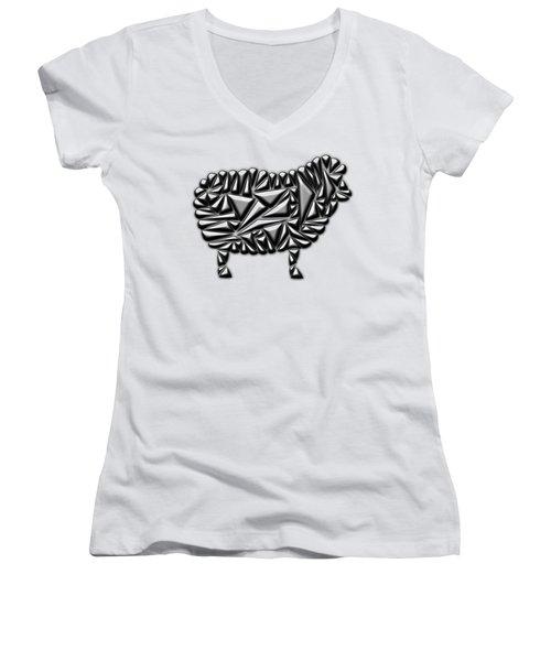 Metallic Sheep Women's V-Neck T-Shirt (Junior Cut) by Chris Butler