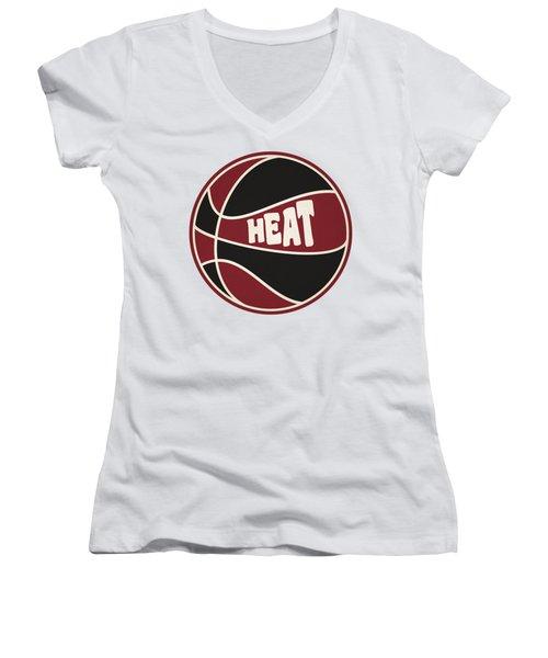 Miami Heat Retro Shirt Women's V-Neck T-Shirt (Junior Cut) by Joe Hamilton