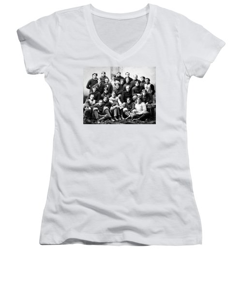 Michigan Wolverines Football Heritage  1895 Women's V-Neck T-Shirt (Junior Cut) by Daniel Hagerman