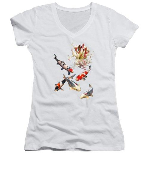 Midnight Reflections Women's V-Neck T-Shirt (Junior Cut) by Gill Billington
