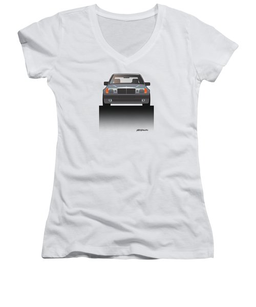 Modern Euro Icons Series Mercedes Benz W124 500e Split  Women's V-Neck T-Shirt (Junior Cut) by Monkey Crisis On Mars