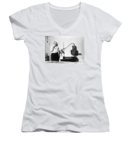 Moonshine Distillery, 1920s Women's V-Neck T-Shirt (Junior Cut) by Granger