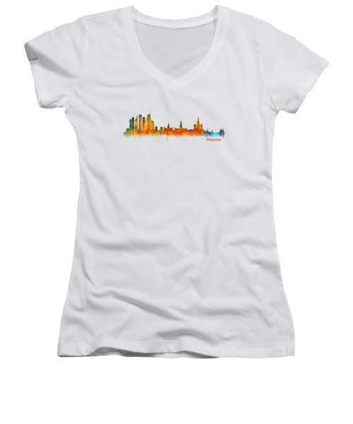 Moscow City Skyline Hq V2 Women's V-Neck T-Shirt (Junior Cut) by HQ Photo
