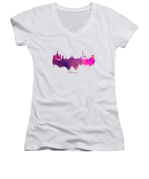 Moscow Russia Skyline Purple Women's V-Neck T-Shirt (Junior Cut) by Justyna JBJart