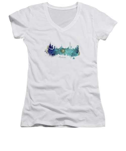 Moscow Skyline Wind Rose Women's V-Neck T-Shirt (Junior Cut) by Justyna JBJart