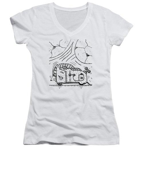 Moto Mouse Women's V-Neck T-Shirt (Junior Cut) by Sotuland Art