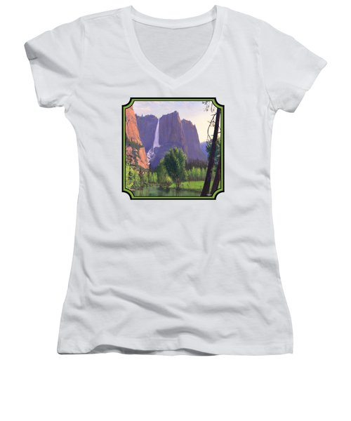 Mountains Waterfall Stream Western Landscape - Square Format Women's V-Neck T-Shirt (Junior Cut) by Walt Curlee