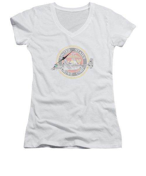 Mv-22bvmm-261 Women's V-Neck T-Shirt (Junior Cut) by Arthur Eggers