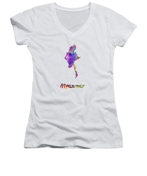 Myanmar In Watercolor Women's V-Neck T-Shirt (Junior Cut) by Pablo Romero
