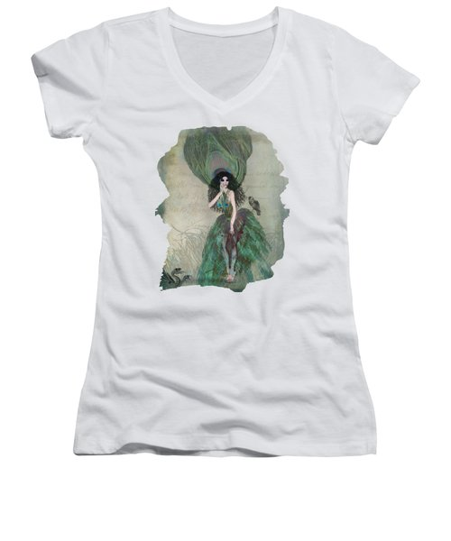 Mysterieuse Women's V-Neck T-Shirt (Junior Cut) by Terry Fleckney
