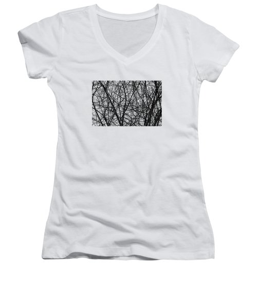 Natural Trees Map Women's V-Neck T-Shirt (Junior Cut) by Konstantin Sevostyanov