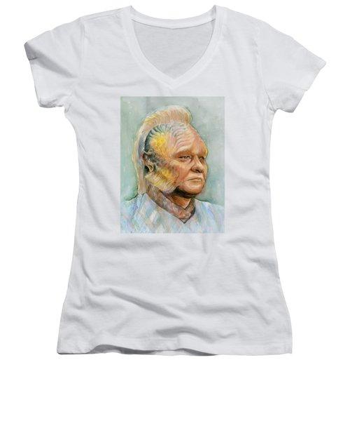 Neelix Star Trek Voyager Watercolor Women's V-Neck T-Shirt (Junior Cut) by Olga Shvartsur