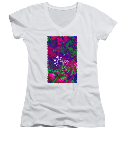 Nerd Berries Psychedelic Fractal Women's V-Neck T-Shirt (Junior Cut) by Sharon and Renee Lozen
