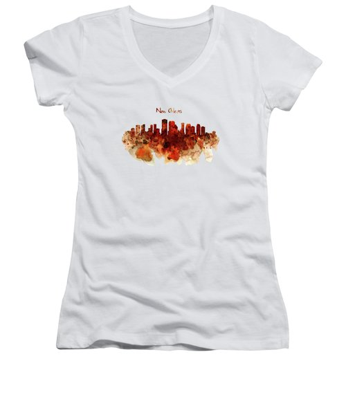 New Orleans Watercolor Skyline Women's V-Neck T-Shirt (Junior Cut) by Marian Voicu