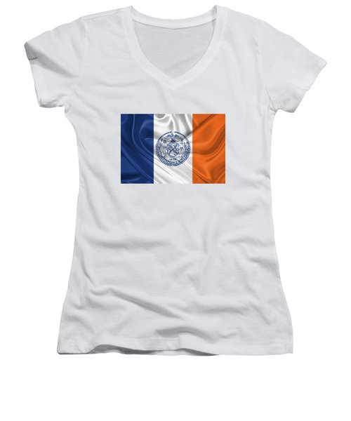 New York City - Nyc Flag Women's V-Neck T-Shirt (Junior Cut) by Serge Averbukh