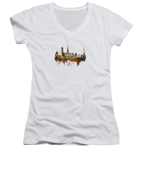 New York City Skyline Brown Women's V-Neck T-Shirt (Junior Cut) by Justyna JBJart