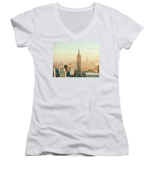 New York City - Skyline Dream Women's V-Neck T-Shirt (Junior Cut) by Vivienne Gucwa