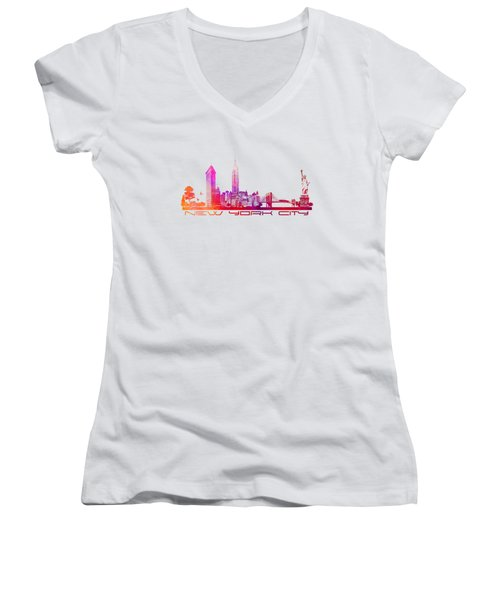New York City Skyline Purple Women's V-Neck T-Shirt (Junior Cut) by Justyna JBJart