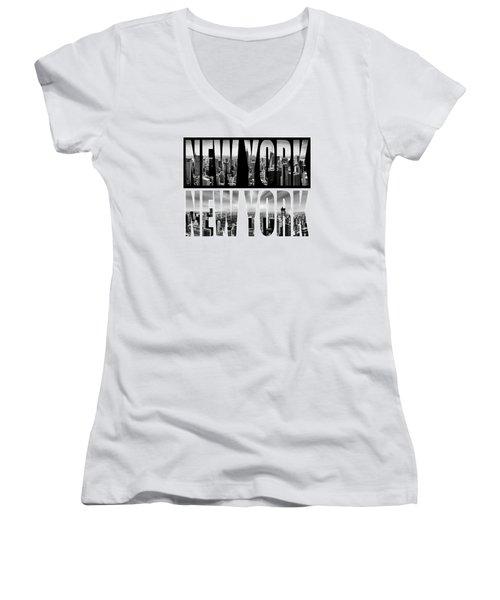 New York New York Women's V-Neck T-Shirt (Junior Cut) by Az Jackson