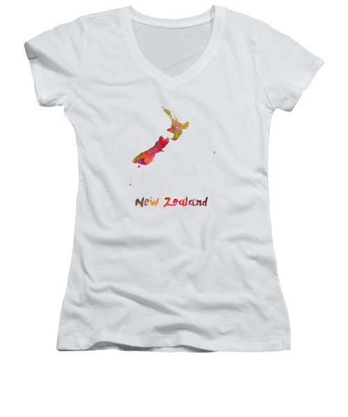 New Zealand In Watercolor Women's V-Neck T-Shirt (Junior Cut) by Pablo Romero