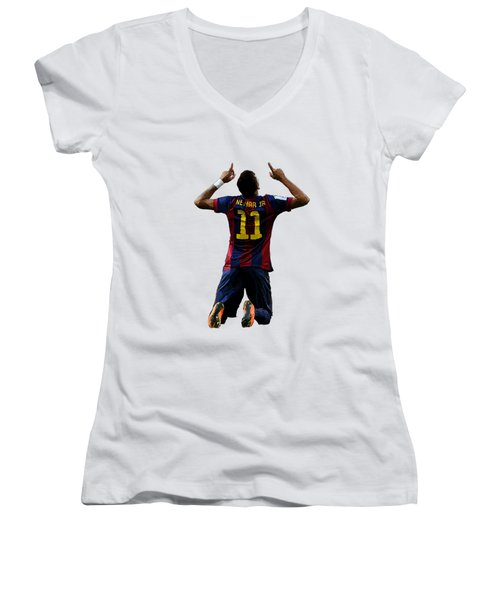 Neymar Women's V-Neck T-Shirt (Junior Cut) by Armaan Sandhu