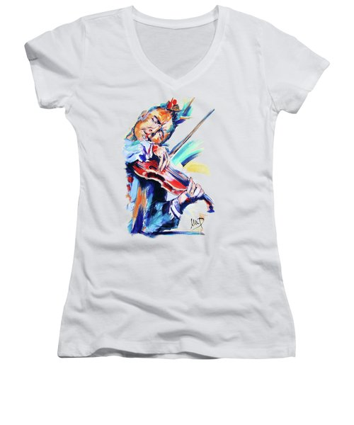 Nigel Kennedy Women's V-Neck T-Shirt (Junior Cut) by Melanie D