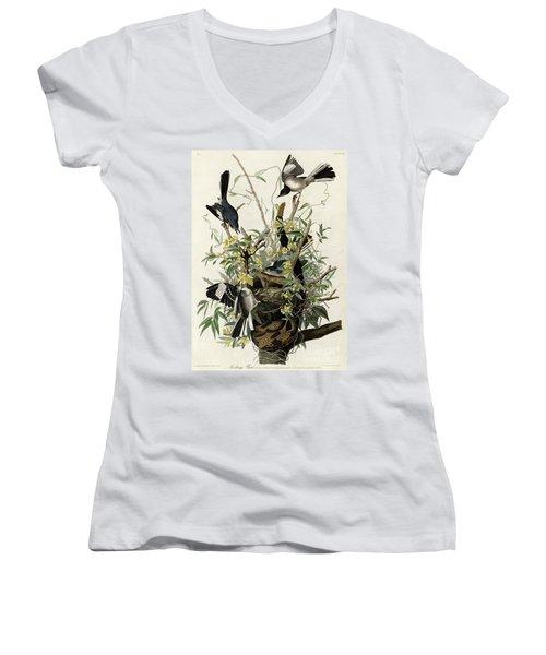 Northern Mockingbird Women's V-Neck T-Shirt (Junior Cut) by Granger