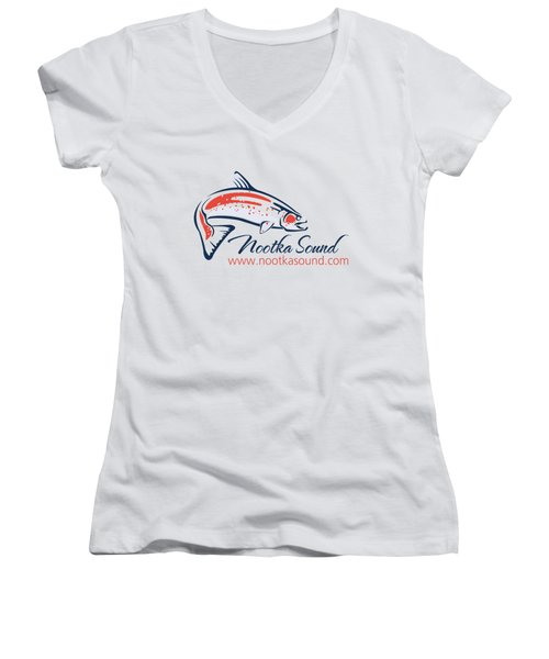 Ns Logo #4 Women's V-Neck T-Shirt (Junior Cut) by Nootka Sound