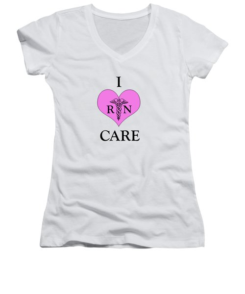 Nursing I Care -  Pink Women's V-Neck T-Shirt (Junior Cut) by Mark Kiver