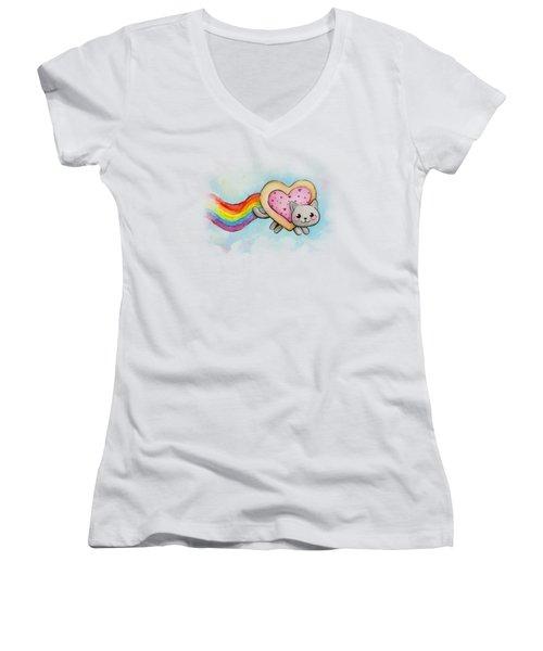 Nyan Cat Valentine Heart Women's V-Neck T-Shirt (Junior Cut) by Olga Shvartsur