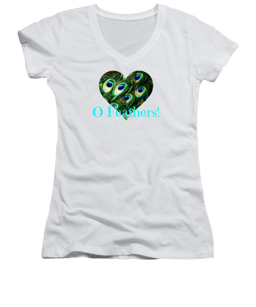 O Feathers Women's V-Neck T-Shirt (Junior Cut) by Anita Faye