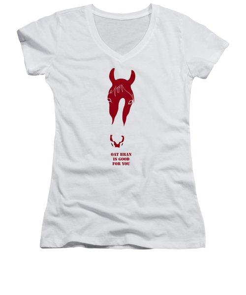 Oat Bran Is Good For You Women's V-Neck T-Shirt (Junior Cut) by Frank Tschakert