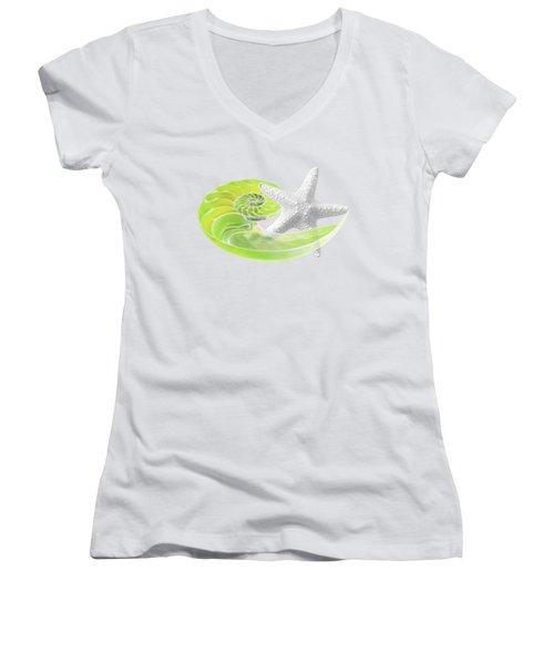 Ocean Fresh Women's V-Neck T-Shirt (Junior Cut) by Gill Billington