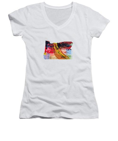 Oregon Map Art - Painted Map Of Oregon Women's V-Neck T-Shirt (Junior Cut) by World Art Prints And Designs