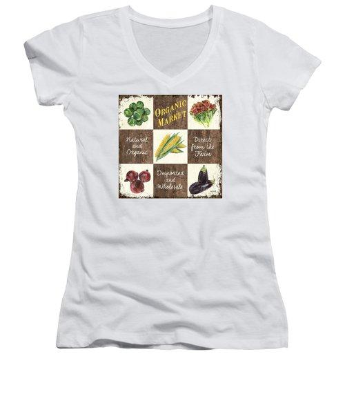 Organic Market Patch Women's V-Neck T-Shirt (Junior Cut) by Debbie DeWitt