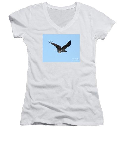 Osprey With Fish Women's V-Neck T-Shirt (Junior Cut) by Carol Groenen