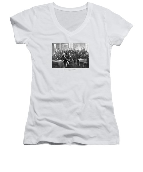 Our Presidents 1789-1881 Women's V-Neck T-Shirt (Junior Cut) by War Is Hell Store